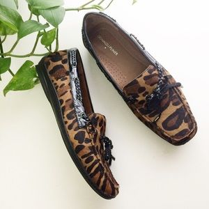 Donald J. Pliner Leopard Lacey Slip On Loafers